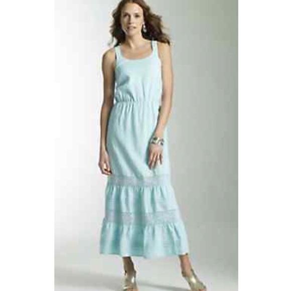 fa545c9e7ac4 J. Jill Dresses   Skirts - J. Jill sky blue linen and lace tiered